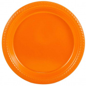 JAM Paper Round Plastic Party Plates - Small - 18cm - Orange - 20/pack