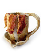 Hand-Sculpted Stoneware Microwave Bacon Cooker Mug, Made in USA