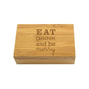 Holiday Bamboo Box-Corkscrew/Stopper - Eat Drink and Be Merry