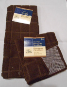Home Collection Waffle Weave Microfiber Towel / Scrubber Dishcloth Set Brown