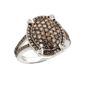 Gorgeous Cluster Ring With 1.23 Carat Real Brown Diamond Made in 925 Sterling Silver