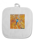 TooLoud Blue Bird in Yellow Watercolour White Fabric Pot Holder Hot Pad