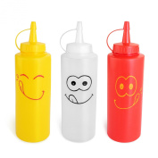 New Star Foodservice 28560 Smile Face Squeeze Bottle Set, 350ml
