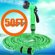 WayIn® 15m 7 Modes Expandable Garden Hose Water Pipe with Spray Gun - GREEN