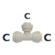 1cm OD x 1cm OD x 0.6cm OD tubing T spliter (reducing tee) with QC. Allow using 0.6cm RO tubing on 1cm OD RO line. Uses in water filters or Reverse Osmosis Systems