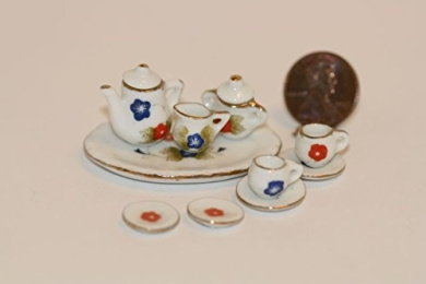 Dollhouse Miniature Ceramic Tea Set for Two w/ Blue & Red Flowers