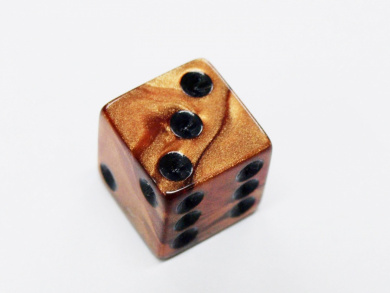 Set of 10 D6 16mm Olympic Pearlized Standard Size Dice - Bronze with Black Pips