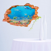 Fange DIY Removable 3D Underwater World Scene Art Mural Vinyl Waterproof Wall Stickers Living Room Decor Bedroom Decal Sticker 90cm x 60cm