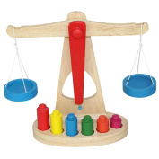 Deercon Small Wooden Balance Scale with 6 Weights for Kids Preschool Math Education Toy