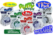 """Putty Peeps Metallic """"Blue"""", """"Green"""", """"Red"""", """"Purple"""" & """"Silver"""" Putty Tins (50ml each) Complete Gift Set Bundle - 5 Pack"""