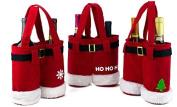 3 Pcs Santa Pants Christmas Wine Gift Bags - Christmas Treat / Candy Bags Set