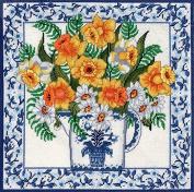 Candamar Designs Daffodils & Blue Delft Needlepoint Kit, 36cm x 36cm
