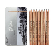Bao Core Georgie® Upgrade 12 pcs Assorted Size Art Artistic Professional Drawing Sketch Wooden Pen Pencils in Box 9B 8B 7B 6B 5B 4B 3B 2B HB H 2H 3H