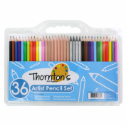 Thornton's Art Supply 36 Count Professional Hi-Quality Artist Coloured Pencil Set with 12 Watercolour, 8 Graphite, 12 Coloured & 4 Woodless Pencils