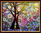DIY PBN-paint by numbers Abstract tree-3 41cm by 50cm Frameless.