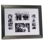 CreativePF [4x 6event11x 14ss-w] Stainless Steel Event Photo Booth Frame Ð Holds 2- 4 by 6 and 2- 5.1cm by 15cm Photographs with White Collage Mat and Stand