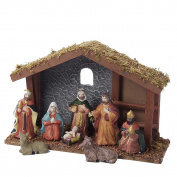 Kurt Adler Wooden Nativity, 28cm , Set of 9