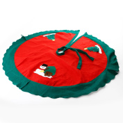 Christmas Xmas Tree Skirt Circle Snowman Pattern Base Cover Decoration Apron Wrap