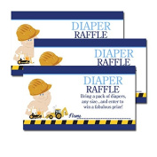 Construction Baby Boy Theme Baby Shower Nappy Raffle Tickets 20-pack