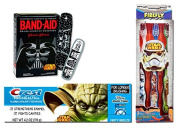 Star Wars Toothbrushes (3) Star Wars Colgate Toothpaste and Star Wars Bandages Bundle