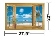 1 X Ocean View Faux Window Beach Tropical Blue Sea Removable Wall Decor Decal Stickers
