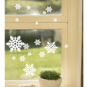 Dnven (White, From 7.6cm - 13cm , Set of 21 Pcs) Christmas Snow Flake Wall Decals Vinyl Removable Wall Stickers for Bedrooms Kids Rooms Windows Glasses Christmas Party