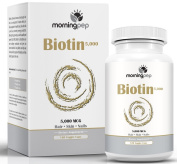 Biotin For Hair Growth Supplement 120 count High Potency 5,000 mcg (5 mg) By Morning Pep, Biotin Promotes Glowing Skin And Hair Growth And Strong Nails And May Reduce Hair Loss