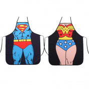 FASHION ALICE Superman + Wonder Woman Anime Cartoon Hero Character Series Modern Family 2pcs Apron Couple Kitchen Aprons Funny Personality Sexy Originality Cooking Aprons Gift,Include a gift card