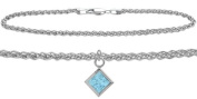 Genuine Sterling Silver Wheat Anklet with Genuine Blue Topaz Square Charm