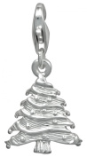 Sterling Silver Christmas Tree Holiday Dangle Charm with Lobster Clasp for Charm Bracelets