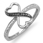 0.12 Carat (ctw) Sterling Silver Round Diamond Ladies Promise Two Double Heart Love Engagement Ring