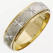 14K Two Tone Solid Gold Design Carved Wedding Ring Band for Women