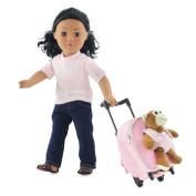 46cm Doll Backpack Luggage | Rolling Trolley with Detachable Fluffy Monkey | Fits American Gir Dolls
