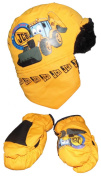 Boys Joey JCB Trapper Hat And Mittens Set Age 4-6 Years Showerproof Material