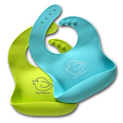Waterproof Silicone Bib Easily Wipes Clean! Comfortable Soft Baby Bibs Keep Stains Off! Spend Less Time Cleaning after Meals with Babies or Toddlers! Set of 2 Colours