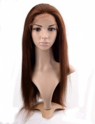 Lordhair 100% Indian Human Hair Lace Front Wig Yaki Straight Colour 4#