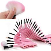 32 PCS Premium Wool & Fibre Hair Makeup Brush Set Cosmetics Foundation Blending Blush Eyeliner Face Powder Brush Lipstick Brush Makeup Brush Kit Cute Pink