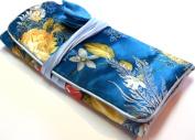 Blue Silk Floral Print Make Up Bag/ Wrap /Jewellery Roll