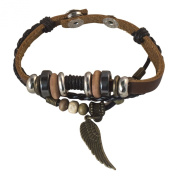 . Men and Womens Brown Leather Link Charm Charm Bracelet
