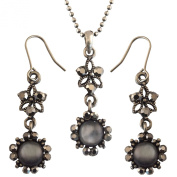 Pretty Black Retro / Gothic Design Crystal Flower Drop Necklace Earring For Her