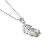 Silver and Gold Peacock Feather Pendant