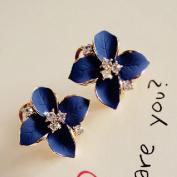 HuntGold 1Pair Flower Earring Fashion Women Ladies Rhinestone Ear Stud Earring