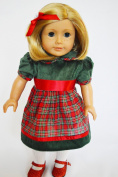 HOLIDAY PLAID DRESS FOR AMERICAN GIRL DOLLS