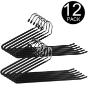 Ipow Heavy Duty Slacks/Trousers Hangers Open Ended pants Easy Slide Organisers, Chrome and Black Friction, Non-slip arms. Set of 12