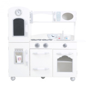 Teamson Kids Childrens Wooden Large Vintage White 1 Piece Wooden Pretend Role Play Kitchen Toy TD-11414W