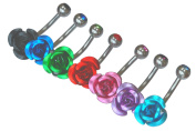 Body Jewellery Shack (SET OF 6) ROSE Belly Bar with gem in 5mm ball in RED-AQUA-PINK-BLACK-GREEN-PURPLE