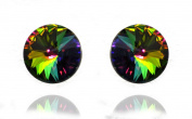 Multi-Colour Sterling Silver 925 Made with. Elements Crystal Stud Earrings for Women