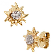 Jobo Stud Earring Partially Rhodium-Plated 333 Gold-Earrings Edelweiss Regenb...