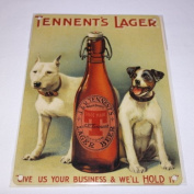 FRENCH VINTAGE METAL SIGN 20x15cm RETRO AD TENNENT'S LAGER BEER
