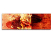 Panoramic Wall Image XXL 150 x 50 CM Canvas Wall Art Abstract Art Painting Yellow Red Circles Brown